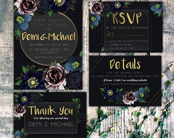 Printable Wedding Invitation - Wedding Invitation Suite | Fall Wedding Invitation Winter Wedding Invitation | Wedding Invitation Set