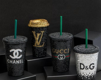 Custom Starbucks Cup | Designer Inspired Coffee Cup, Coffee Tumbler with Straw, Swarovski Crystal Monogram, Best Selling Items, Gift for Her