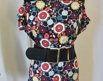 SALE!!!! Ladies Handmade, 60's / 70's mod geo inspired vintage style flower hippy dress (UK Size 12 )