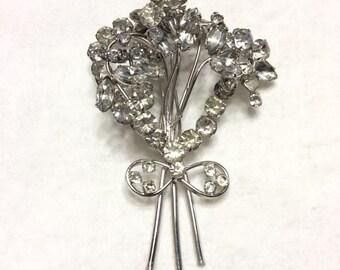 Vintage 1950's clear rhinestone layered wreath design bridal wedding brooch pin