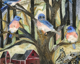 Art Print Original Watercolor Bluebirds in a Country Setting