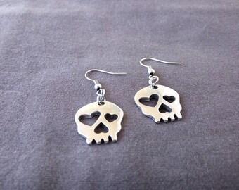Skull Heart earrings (charms, pendants, vintage, dia de los muertos, day of the dead)