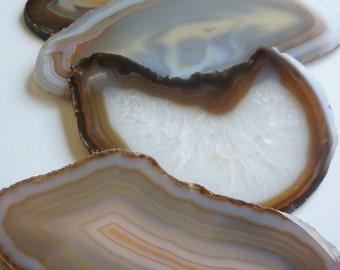 AGATE Slab Coasters Earthy Brown Grey Tan Cream White Crystal Geode Stone Slice Edges Wedding Anniversary Holiday Grad Hostess Birthday Gift