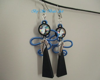 """Indy"" Feather abstract aluminum earrings"
