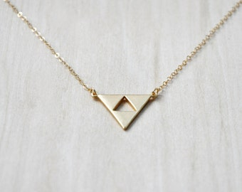Triangle Charm Necklace, Layering Necklace, Everyday necklace, Geometric Necklace