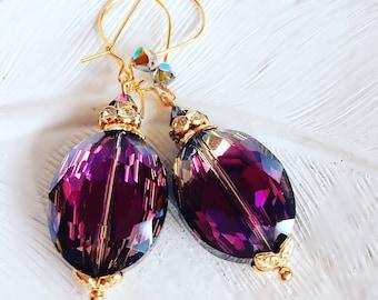 Purple Dangle Earrings - Gift for Mom - Ready to Ship - LOULOU Purple Earrings