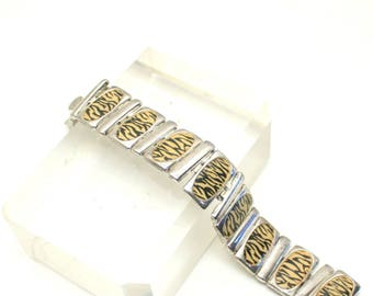 Silver Plate Leopard Stripe Bracelet, Exotic, Modernist Silver Panel, Jungle