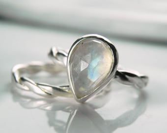 Moonstone Engagement Ring Set - Rainbow Moonstone Ring - Gemstone Stack Rose Cut Alternative Wedding Unique Engagement - Something Blue