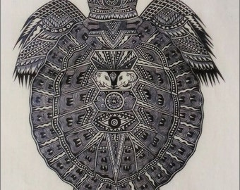 Thai traditional art of Turtle by printing on Natural colors cloth