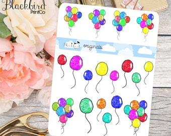 Glitter Balloons - Hand Drawn Planner Stickers [DR0008]