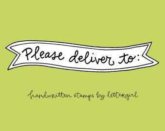 Please Deliver Stamp: Handwritten Snail Mail Stamp