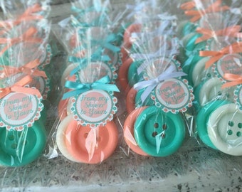 120 BUTTON SOAPS {60 Favors}   Cute As A Button Baby Shower Soap Favors,  1st Birthday Party Favors, Sew Cute, Sewing, Handmade Soap Gift