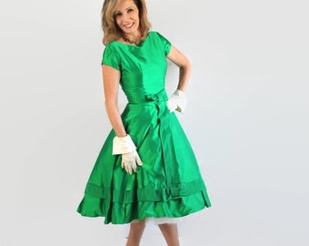 50s 60s Dress Emerald Green Dress, Party, Prom, Cocktail, Vintage Wedding