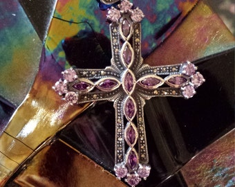 Sterling silver 925 cross with marcasite and faceted amythyst