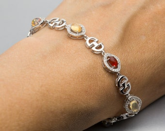 Sterling Silver Mexican Opal Bracelet 2.8ct (MO379B)
