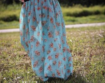 Boho Sheer Floral Maxi Skirt With Knit Bloomers For Toddler Girls Tween Junior Spring Summer