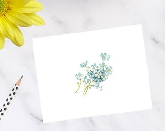 Personalized, stationery, Forget Me Not Floral Note Cards