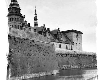 "Castle Photography, Denmark wall art. Scandinavian decor, Kronborg ""Hamlet's"" Castle print, Black & White home decor, travel photography"