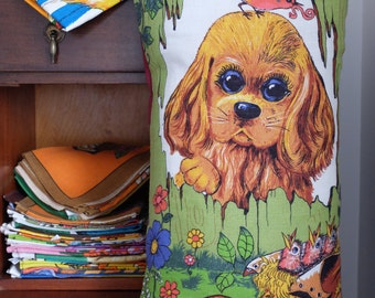 Vintage Puppy and Birds Tea Towel Cushion