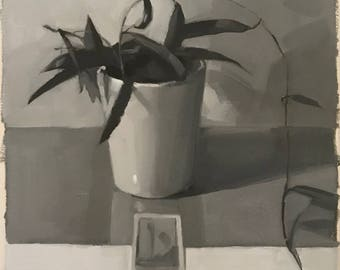 """Sketch study black and white oil painting still life tarot card hoya plant """"Ace of Wands"""" by Sarah Sedwick"""