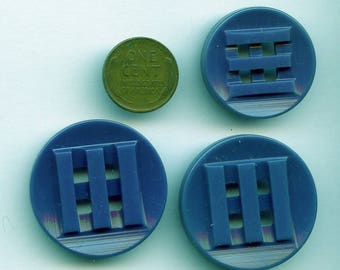 Matching Set of (3) Double Cut Teal Blue Vintage 1940s Casein Buttons 2 sizes 5043