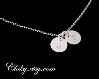 Sterling Silver Necklace Initial Disk 9mm, Monogram Engraved Necklace, Personal necklace, everyday wear, Style and number of Disk to choose
