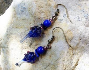 Sequined pink blue Lampwork Glass drop earrings