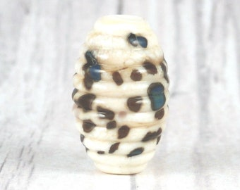 Oval Grooved Artisan Lampwork Glass Focal Bead for Collecting or Jewelry and Craft Creations