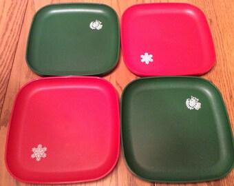 Vintage Tupperware Stackable Red \u0026 Green 8\  Square Plates Snowflake Partridge & Tupperware plates   Etsy