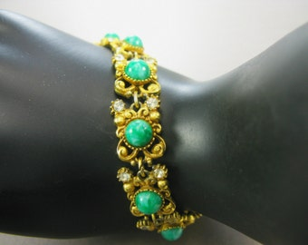Vintage Signed FLORENZA Victorian Style Antiqued Bracelet