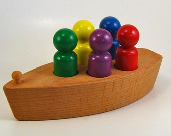 Wooden Toy Boat - With Wooden Toy Rainbow Peg People