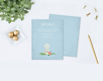 Gold Pineapple Wedding Insert Card, Editable PDF Template, Printable Details Cards, Part of Printable Invitation Template Wedding Set