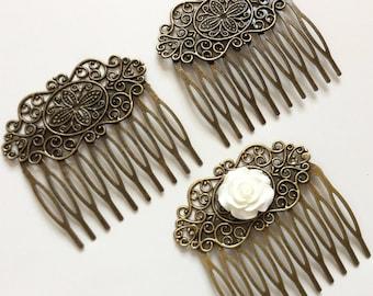 2 pcs Hair Comb,Antique Bronze,Flower Hair Comb,wedding hair comb,bridal hair comb,brass hair comb,vintage comb,classic hair comb,