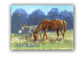 Horses  Burro Donkey Artwork  Acrylic LLMartin Original Watercolor Painting Virginia Country  Free Shipping USA