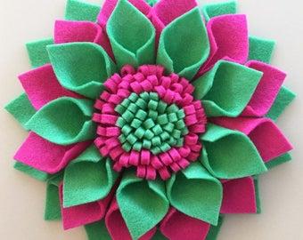 Felt Flower With Fringe Centre