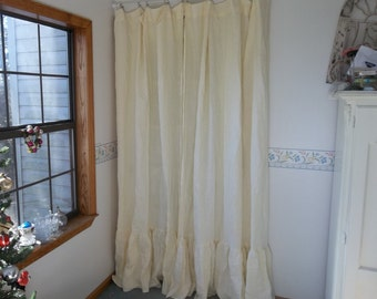 Custom Linen Drapes PAIR Ruffled Linen Panels Ruffled Curtains Ruffled Drapes Custom Lengths Natural Linen Drapes Custom Linen Sewing Set