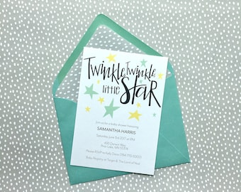 Twinkle Twinkle Little Star Baby Shower Invitation, Gender Neutral Invite, Twinkle Twinkle Shower Invite, Baby Shower Invitation, Twinkle