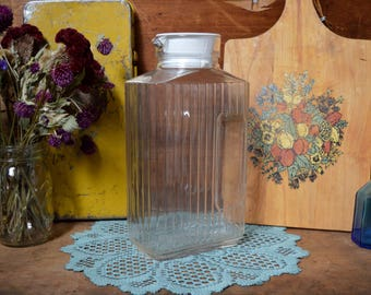 Vintage Tall Pitcher with White Lid Clear Glass Box