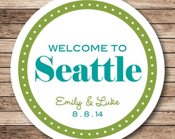 Welcome To City Stickers, Destination Wedding Tags, Personalized Wedding Labels
