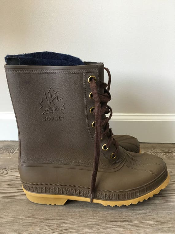 7 9 Canada 7 Boots Mud Tag Brown Made Sorel Wool 9 Rubber Up 80s Men Run Insulated 5 Liners Felt Vintage Large Lace Wide Blue 5 Navy Women f6HwY
