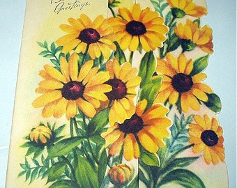 Yellow Daisy Flowers Black Eyed Susans Birthday Belated Greetings Unused Vintage Card Beautiful Cutout Design Art Lithograph