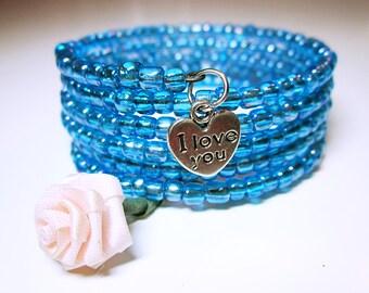 JEWELRY BRACELET Blue Bead Cuff Bracelet Large Blue Wrap Cuff Silver Plate Heart Shape I Love You Charm Great Gift Idea For Her