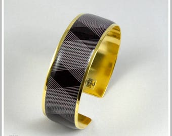 2 cm gold plated 24 k Brasil Carlita black Cuff Bracelet