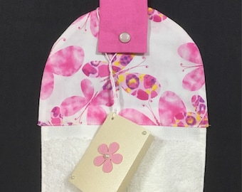 Hanging hand towel - white towel - butterfly top