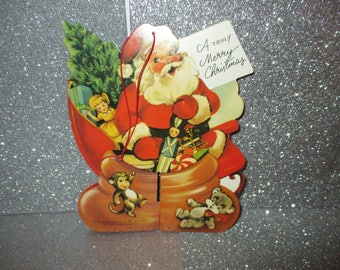 Vintage Honeycomb Santa Hanger, 2 Sided, Santa with Toys in Sack, Christmas Paper, Schackman Christmas Decoration