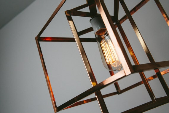 Pendant Light Industrial Lighting Geometric Copper Cage