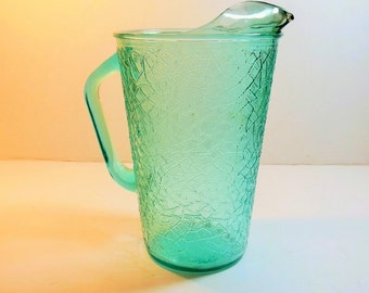 Modern Aqua Crackle Vase, Pitcher by Jeannette, Imperial Glass, Tree of Life, 2 quart