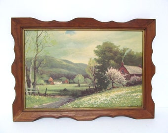 Vintage Robert Wood Framed Picture, Early Spring