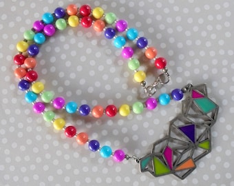 Rainbow Geometric Necklace (4077)