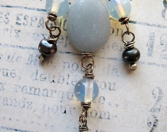 Matte Angelite, Vintage Opal Glass and Pearl Bead Dangles in Antiqued Sterling Silver - 3 pieces